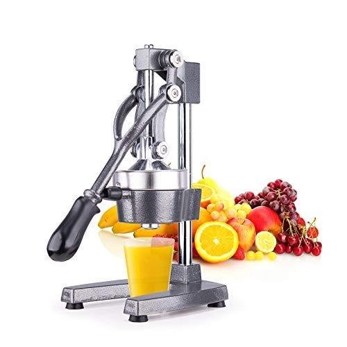 Z ZELUS Hand Saftpresse Manuelle Saftpresse aus Edelstahl Zitruspresse Orangenpresse Zitronenpresse Obstpresse Fruchtpresse mit Hebel Hand Entsafter (Grau)