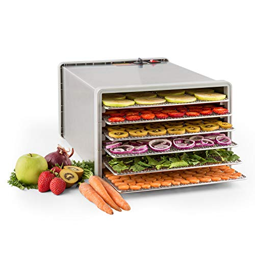 Klarstein Fruit Jerky Pro 6 - Dörrgerät, Dörrautomat, 630W, 6 Etagen, einstellbare Temperatur, 0,65 m² Trockenfläche, Edelstahl-Gehäuse, Edelstahl-Frontplatte, einfache Reinigung, silber